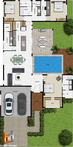 3 habitaciones/ 2 baños/ sala de estar/ comedor/ cocina/ lavadero/ despensa/ estudio/ piscina/ terraza/ garaje para 2 vehículos