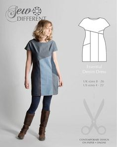 Essential Denim Dress - FREE SEWING PATTERN LC013, free sewing pattern