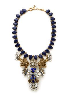 Flowered Crystal Statement Necklace