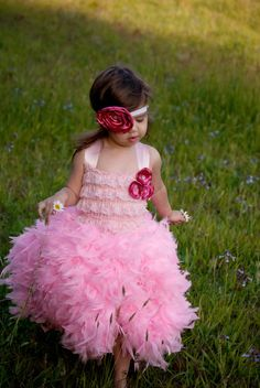 Premium Feather Dress Flower Girl Dress Pageant by LNoelDesigns