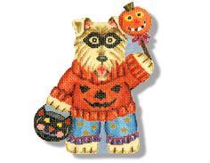 Needlepoint Halloween Canvas - Dog in Pumpkin Sweater - 18 mesh $52.00