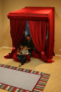 Fastens to wall (to look like regular curtains) or opens like picture for a circus tent or fort, etc. Step by step DIY.