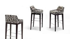 Upholstered leather counter stool FRANKLIN Collection by HUGUES CHEVALIER