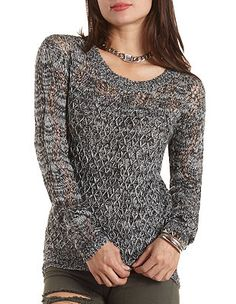 Marled Pointelle Tunic Sweater: Charlotte Russe
