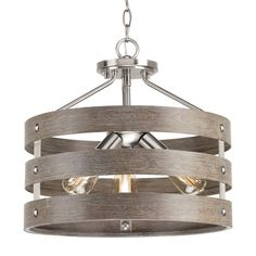 Gulliver 17 in. Brushed Nickel Convertible Semi-Flush Mount with Weathered Gray Wood Accents. bands wrap together to create an open design. Brushed nickel finish with weathered gray wood accents. Flush Mount Ceiling Fan, Flush Mount Lighting, Ceiling Fan Makeover, Grey Wood, Gray, Rustic Chandelier, Chandeliers, Progress Lighting, Wood Ceilings
