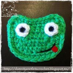 damn it Janet, let's crochet!: Frog Appliqué