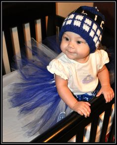 Doctor Who Tardis Tutu, Royal Blue, White with Bow and Tardis Applique - Geek-a-bye Baby Clothing - Sci-fi Geek -