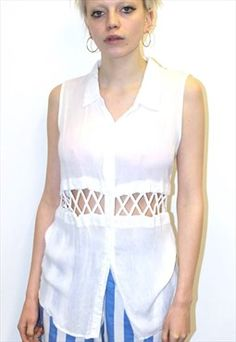Vintage White sleeveless sexy mesh cut out shirt top Festival Fashion, Vintage Outfits, Mesh, Boutique, Pretty, Skirts, T Shirt, Shopping, Clothes