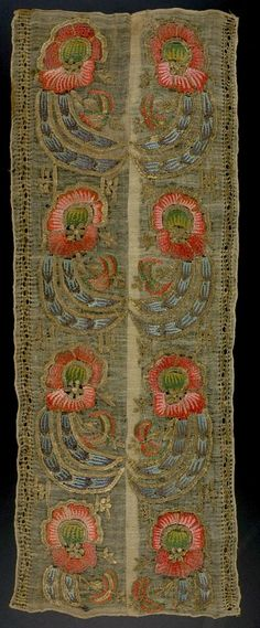 Embroidered textile,  Turkish  ,  17th century