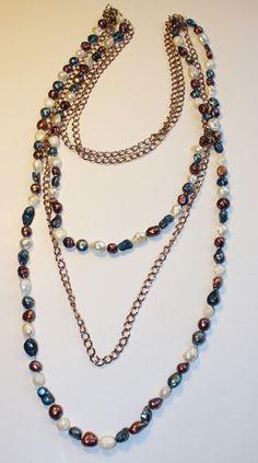 Collar largo con perlas