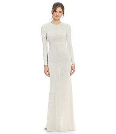 Terani Couture Beaded Stud Long Gown