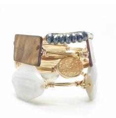 Metallic bangles.