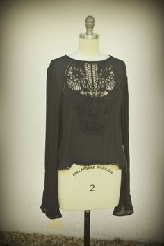 SOLD SOLD SOLD SOLD SOLD NWT KENDALL & KYLIE Peasant Blouse Crochet Mesh Lace Keyhole Eyelets Black M #KendallKylie #Blouse #Casual #peasant #blouse #crochet #fashion #hipster #trend #boho #hippie #bellsleeves #style #designer #cool #headturn #
