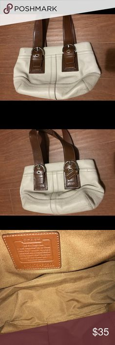 Small Coach tote Small Coach tote in Ivory white leather with Caramel handles... Shows some wear externally in corners Coach Bags Totes