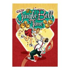 Jingle Bell Time Party Invite - A fun, retro, style Christmas party invitation, featuring a cute jitterbug couple. Great for music lovers and swing dancers! Funny Christmas Gifts, Vintage Christmas Cards, Retro Christmas, Christmas Humor, Christmas Holiday, Christmas Sock, Modern Christmas, Xmas, Cocktail Party Invitation