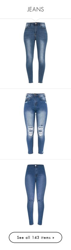 """""""JEANS"""" by thatbytchroman ❤ liked on Polyvore featuring jeans, skinny fit jeans, denim skinny jeans, high waisted jeans, high-waisted skinny jeans, blue skinny jeans, bottoms, pants, skinny leg jeans and blue ripped jeans"""