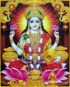 Lakshmi is the Hindu Goddess of wealth, prosperity (both material and spiritual), fortune, and the embodiment of beauty. She is wife of Vishnu. Also known as Mahalakshmi, she is said to bring good luck and is believed to protect her devotees from all kinds of misery and money-related sorrows.