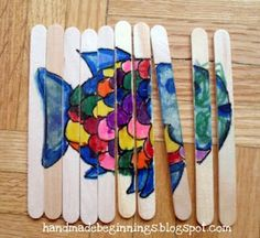 I LOVE this idea!  It's a popsicle stick puzzle....this one is for Rainbow Fish, but it would be cute in so many ways...