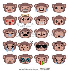 Set of cute monkey emoticons. Smile icon set.