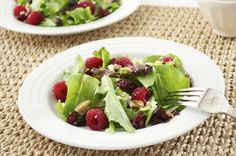 Baby Lettuce Salad with Raspberries, Cranberries, and Feta has crunchy, toasted walnuts, chewy dried cranberries, sweet raspberries, and salty feta.  Good salad and dressing.  Will make again.