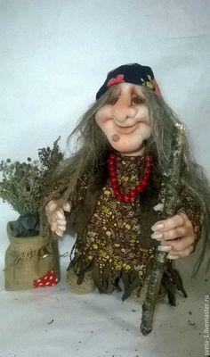 Купить баба-яга - коричневый, баба яга, капроновая кукла, интерьерная кукла