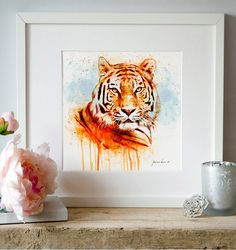 Tiger Watercolor painting Wall art Animal art Wildlife Big cats Tiger decor Printable art Orange Tiger poster Aquarelle Tiger painting Head