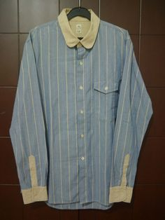 rare KATO TOOL PROJECT by HIROSHI KATO japanese designs JAPAN MADE striped SHIRT #KatoByHiroshiKato #ButtonFront