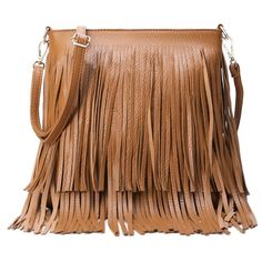 Fringe PU Leather Pure Color Crossbody Bag (125 VEF) ❤ liked on Polyvore featuring bags, handbags, shoulder bags, fringe purse, brown purse, fringe handbags, cross body fringe purse and crossbody purse