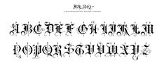 """betype: """"Blaq by Resistenza off). Inspired by Henry W. Troy, BLAQ is a new version of Trojan Text not available as font. Is an ornamental blackletter alphabet. Works great in headlines and other. Gothic Lettering, Chicano Lettering, Graffiti Lettering Fonts, Tattoo Lettering Fonts, Hand Lettering, Stencil Lettering, Typography Served, Typography Logo, Graphic Design Typography"""