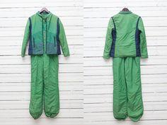 SALE SALE SALE 1980s Green Navy Blue Skiwear Snow by CoverVintage