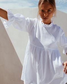 Women Ruffles Elastic Waist Loose Straight White Mini Dresses Half Sleeve Shirt Dress Summer Woman Boho Sundress Color White Size S White Dresses For Women, Party Dresses For Women, Fall Dresses, Short Dresses, Mini Dresses, Women's Dresses, Boho Sundress, Short Sundress, Ruffle Dress