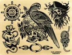 Original works by Paul Dobleman. Ink & watercolor on paper Pirate Tattoo Traditional, Traditional Tattoo Old School, Traditional Tattoo Design, Flash Art Tattoos, Body Art Tattoos, Pirate Skull Tattoos, Pirate Tattoo Flash, Traditional Tattoo Inspiration, Sailor Jerry Tattoo Flash