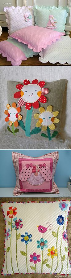 (Diy Pillows For Girls) Cute Cushions, Cute Pillows, Baby Pillows, Throw Pillows, Cushion Covers, Pillow Covers, Sewing Crafts, Sewing Projects, Sewing Pillows