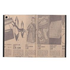 Vintage Newspaper Ads iPad Air Case--If you love irony and finding a bargain, this is the iPad Air case for you! Travel back in a time machine with this vintage, 1962 newspaper sales circular.  #iPad #Handbags #Shoes #Newspaper #Zazzle