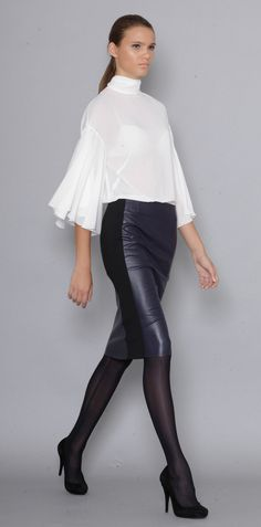 Lena Criveanu Magazin Online Fashion Designer Creatoare De Moda Fusta piele ecologica Colectie Blue