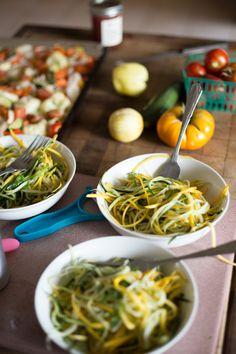 Zucchini Noodles, vegan, clean eating, organic, home-grown, vegetarian, paleo