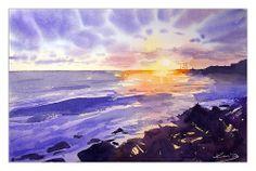 Courtown sunset Watercolor Landscape, Watercolor Art, Clouds, Sunset, Kos, Artist, Artwork, Landscapes, Outdoor