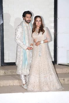 #varundhawan #natashadalal Bollywood Images, Bollywood Stars, Varun Dhawan, Newlyweds, Bollywood Actress, Actresses, Actors, Wedding Dresses, Lace