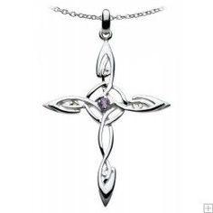 Celtic Silver Amethyst set Twisted Cross Pendant