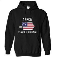 AKRON - Its where my story begins! - #best friend shirt #big sweater. ORDER NOW => https://www.sunfrog.com/No-Category/AKRON--Its-where-my-story-begins-8569-Black-19849426-Hoodie.html?68278