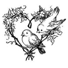 Tampon mariage oiseaux et coeur, tampon décoratif bois Artemio : papiers-faire-part.com: