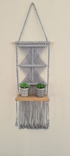 Macrame Wall Hanging Shelf, Macrame shelf pattern, 100% light Grey Cotton Cord, Macrame wooden shelf for any room, UK Seller, Free delivery Wall Hanging Shelves, Large Macrame Wall Hanging, Wooden Shelves, Etsy Handmade, Handmade Items, Amazing Gifts, Handmade Christmas Decorations, Gifts For Mum, Modern Wall Art