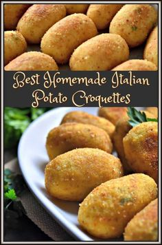 Is there a secret to making the Best Homemade Italian Potato Croquettes? Only on… Is there a secret to making the Best Homemade Italian Potato Croquettes? Only one way to find out …one thing is for sure, they truly make one of the best Italian appetizers! Potato Dishes, Food Dishes, Vegetable Dishes, Vegetable Recipes, Italian Potatoes, Potato Croquettes, Croquettes Recipe, Brunch, Beef Bourguignon
