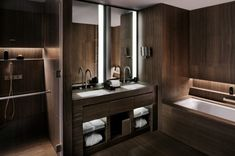 Noble provided waterproofing for the Burj Khalifa.  The bamboo marble tile gives a stunning warmth to the bathroom.