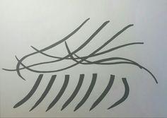 펜싱-2. 속도감 있고 부드럽게 흐르는 동작을 더 효과적으로 표현하기 위해, 신체의 일부분을 생략하고 팔동작과 칼을 곡선으로, 다리는 반복되는 굵은 선으로 표현하였다. (종이에 마카 사용)