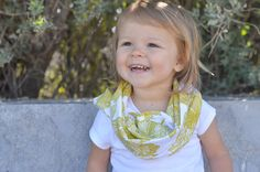 Bright Olive Green and White Leaf and Floral Print Infinity Scarf - Baby, Toddler, Child - One Size Fits Most - Great for Spring!