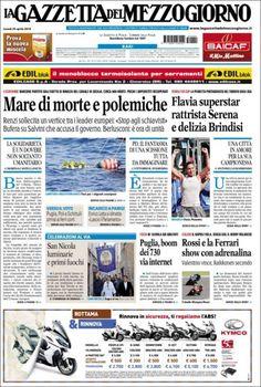 Une de La Gazzetta del Mezzogiorno (Italie) 20/04/2015