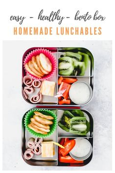 bento box lunch Make your own healthy and homemade lunchables. This nutritious lunch is so EASY to make! Plus, I'm sharing my favorite tools for bento box lunches! Healthy Lunches For Work, Healthy Meals For Kids, Kids Meals, Healthy Snacks, Healthy Recipes, Healthy Eating, Simple Recipes, Diet Recipes, Bento Box Lunch