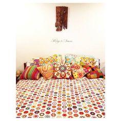 White & colours bedspread