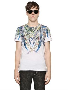 JUST CAVALLI - FEATHER PRINTED COTTON T-SHIRT - LUISAVIAROMA - LUXURY SHOPPING WORLDWIDE SHIPPING - FLORENCE